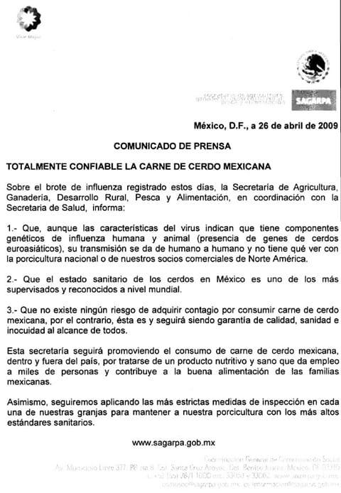 Comunicado SAGARPA